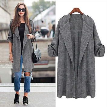 Fashion Women's Slim Long Trench Coat Jacket Windbreaker Parka Outwear Cardigan
