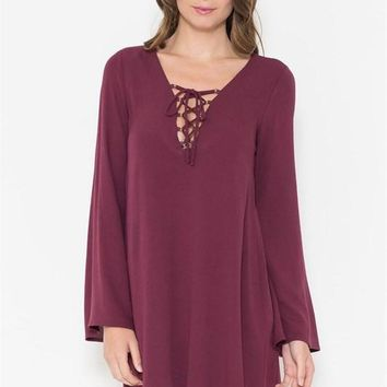 Just a Crush Lace up Dress in Plum - FINAL SALE