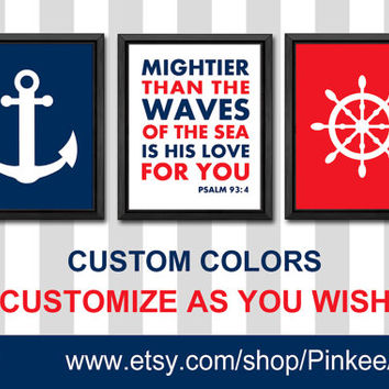 nautical bible quotes nursery wall art boy nursery art baptism baby gift kids playroom decor psalm 93:4 boy decor bible verse kids room art