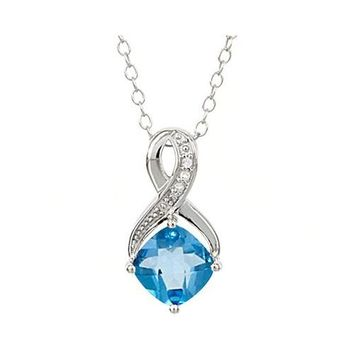 Sterlng Silver Cushion Cut Swiss Blue Topaz & Diamond Pendant Necklace