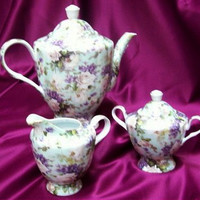 3 Piece White Rose on Mint Chintz Large 40 oz. Porcelain Teapot and Creamer Set Satin Lined Gift Box