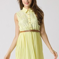 Yellow Floral Lace Pleated Dress with Brown Belt
