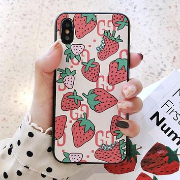 GUCCI Hot Sale Cute Strawberry Pattern Mobile Phone Cover Case For iphone 6 6s 6plus 6s-plus 7 7plus 8 8plus X XS Max XR