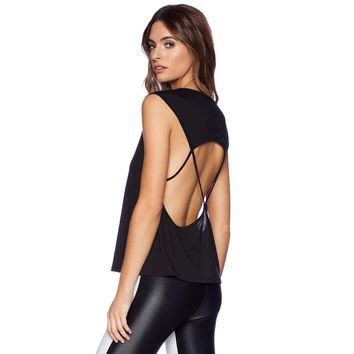 Women Fashion Solid Color Hollow Backless Sleeveless T-shirt Tops