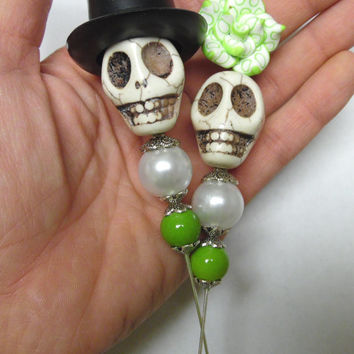 Day of the Dead Cake Topper Giant Sugar Skull Gothic Wedding Lapel Pin Bride & Groom