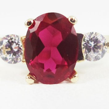 Ruby Oval 14k Yellow Gold CZ Accent Ring, July Birthstone Ring, Yellow Gold Ruby Oval Ring, Solid 14 Karat Gold Ring, Oval Ruby Accent Ring