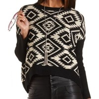 Oversized Aztec Pullover Sweater by Charlotte Russe