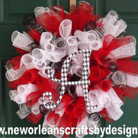 Alabama Crimson and White Spiral Deco Mesh Wreath with Houndstooth Letter A