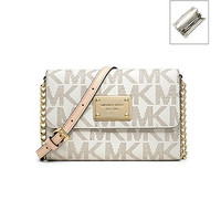 MICHAEL KORS Jet Set Monogram Large Phone Crossbody Bag, Vanilla