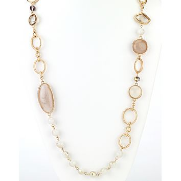 Floating Beads Long Necklace in Natural
