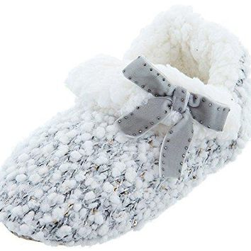 Chinese Laundry Womens Grey Knit Bootie Slippers