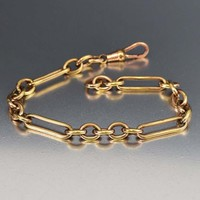 Fine Antique 18K Rolled Gold Watch Chain Bracelet