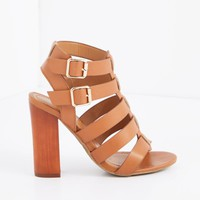 Tan Caged Double Buckle Heel By Bamboo® | Heeled Sandals | rue21