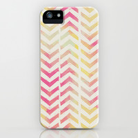 PINK AND YELLOW CHEVRON iPhone & iPod Case by Allyson Johnson