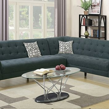 2 pc Retro modern collection slate velveteen fabric upholstered sectional sofa with tufted accents