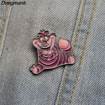 Dongmanli Alice in Wonderland Brooch cartoon cute Cheshire cat Pins Lapel tie Pin Button Clothes Bag Badges for women M1984