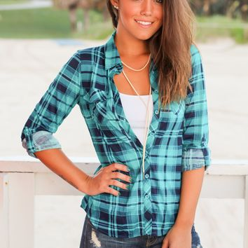 Teal and Navy Plaid Top