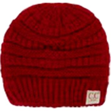 Kids CC Ribbed Beanie, Red