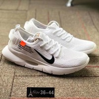NIKE AIR MAX 87 OG & OFF-WHITE Joint Series Comfortable Breathable Running Shoes F-CSXY white