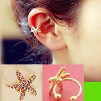 Starfish Rhinestone Ear Cuff Ring (Single, No Piercing, Adjustable)