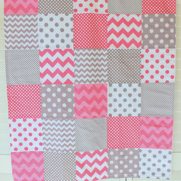 Girl Baby Blanket, Nursery Decor, Crib Blanket, Photography Prop, Patchwork Baby Blanket,  Fleece Blanket, Pink and Gray Chevron Dots Stripe