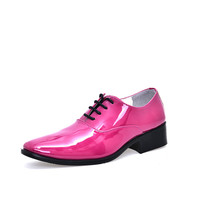 cheap man wedding shoes solid orange rose red blue wine red color mens glossy party shoes quality leather dress shoes gents male