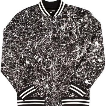 PAINT SPLATTER FLEECE VARSITY JACKET