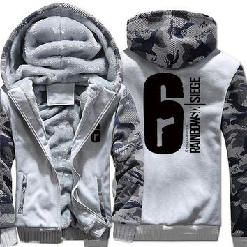 Mens Casual Game Tom Clancy's Rainbow Six Siege Hoodies Zip up Thick Winter Super Warm Cotton Sweatshirts Coats