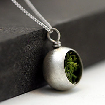 Sterling lantern necklace with real moss. Half open brushed sterling orb with real moss. Dainty sterling necklace for her.