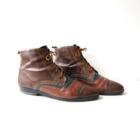 Vintage 80s brown leather ankle boots. color block leather booties. granny boots. 7.5