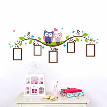 Family owls Tree photo frame wall stickers for kids rooms home decoration bedrrom wall decals mural art living room cartoon