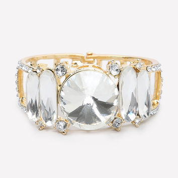 bebe Womens Oversized Crystal Bracelet Crystal In Gold