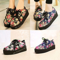 Vintage Floral Lace Up Punk Goth High Platform Skull Flat Creeper Shoes ms28