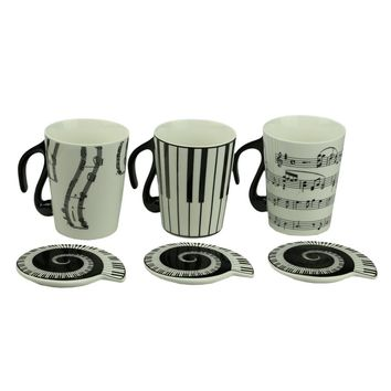 Music Mug cup Staff Notes Piano Keyboard Ceramic Porcelain Mug Coffee Caneca with Cover Creative gift