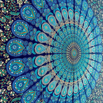 Blue Mandala Cotton Fabric Tapestry Hippie Bedspread Throw Wall Hanging Bohemian Ethnic Home Decor - FabricSarmaya