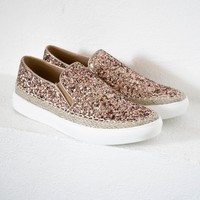 Rose Gold Glitter Slip On Shoes