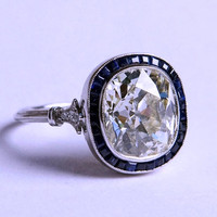 4.30ct Cushion Moissanite Diamond Engagement Ring Art Deco Sapphire Halo 18kt JEWELFORME BLUE