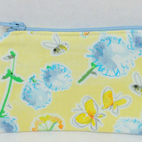 Coin Purse - Flowers and Bees, Bee Coin Purse,Ear Bud Pouch,Stocking Stuffer,Flower Change Purse,Zipper Pouch,Change Purse,Head Phone Pouch