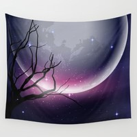 Face of the Moon Wall Tapestry by Texnotropio