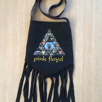 PINK FLOYD - Upcycled Rock T-Shirt Fringe Purse - ooaK