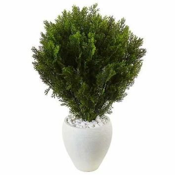 3 Cedar in Oval Textured Planter (Indoor/Outdoor) Silk Plant