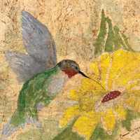 Hummingbird giclee print from an original watercolor batik painting on Japanese rice paper yellow distressed look vintage-like McKinzie
