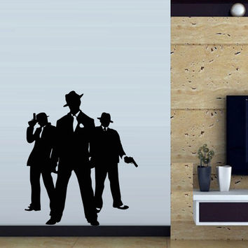 Wall decal art decor decals sticker bedroom hand power man grouping gangster mafia showdown gun pistol (m45)