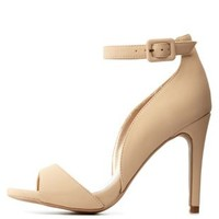 Nude Peep Toe D'Orsay Ankle Strap Heels by Charlotte Russe