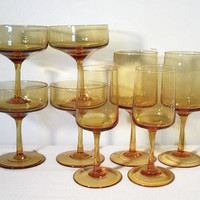 Vintage Cocktail Glasses Mixed Set Campaign Wine Cordial, Amber Gold Glassware