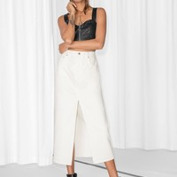& Other Stories | Front Split Denim Skirt | White