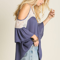 Open Shoulder Top - Dolphin Blue