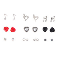 Music Note & Rose Earrings 9 Pair
