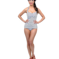Vintage 1950s Style Pin Up White with Black Polka Dots Swimsuit