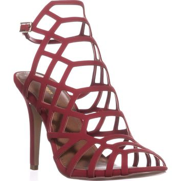 madden girl Directt Caged Ankle Strap Sandals, Red, 8 US